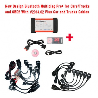 New Design Bluetooth Multidiag Pro+ V2014.02 for Cars/Trucks and OBD2 with All cables(car&truck) and Plastic Box