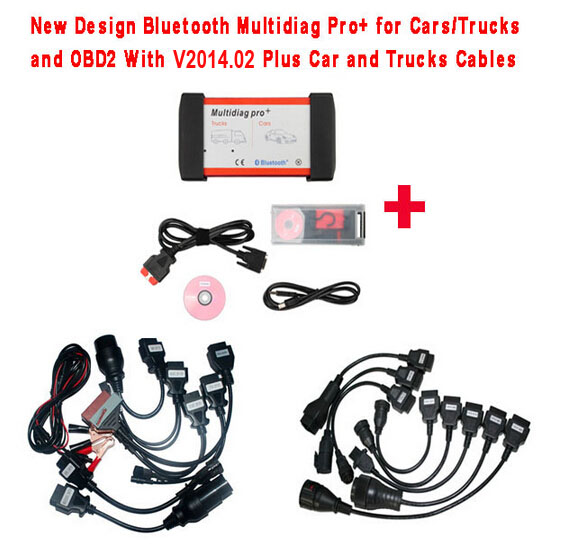 New Design Bluetooth Multidiag Pro+ V2015.03 for Cars/Trucks and OBD2 with All cables(car&truck) and Plastic Box