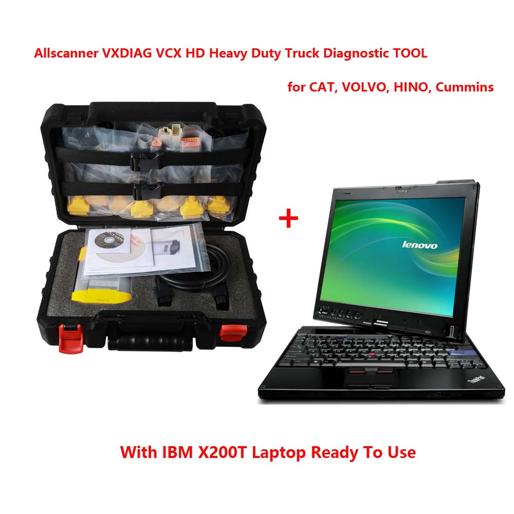 Allscanner VXDIAG VCX HD Heavy Duty Truck Diagnostic TOOL for CAT, VOLVO, HINO, Cummins With IBM X200T Laptop
