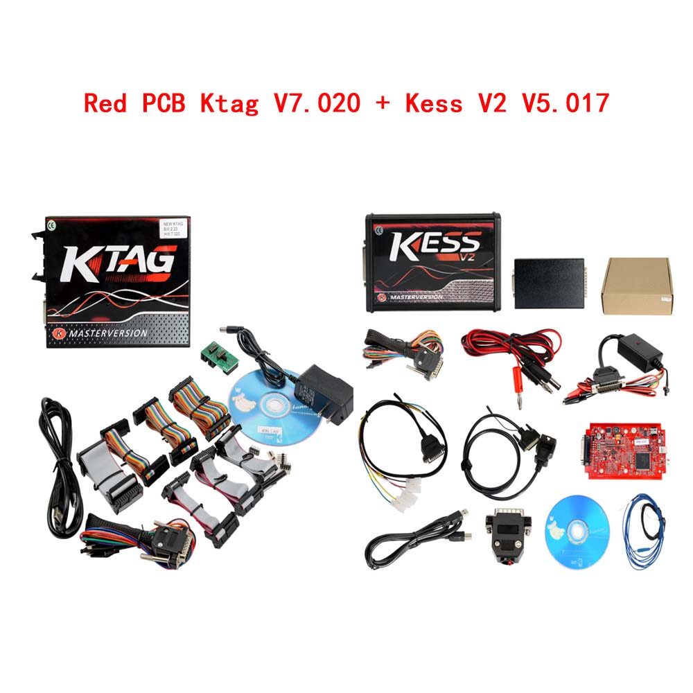 Kess V2 V5.017 Red PCB Online Version V2.47 Plus 4 LED Ktag 7.020 V2.27 Red PCB EURO Online Version ECU Programmer