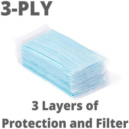 50Pcs/lot Disposable Protective Mask 3 Layer Nonwove Ply Filter Mouth Face Mask Anti-Dust Anti-Fog Meltblown Earloop Mou